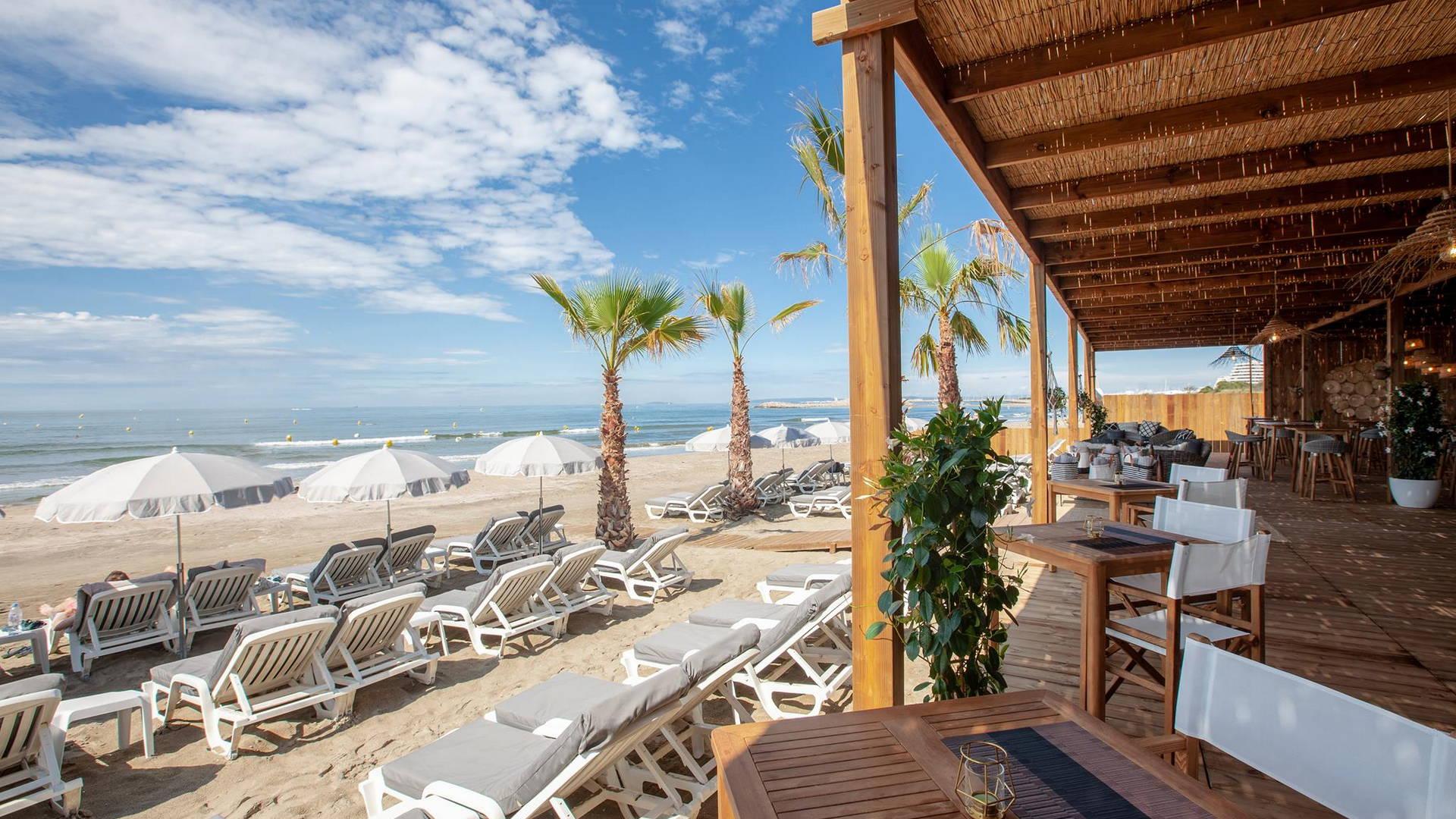 Véritable havre de paix avec des transats avec parasols face aux vagues, plage privée la grande motte, Hôtel La Plage.